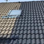Här ser man på nära håll skillnaden mellan ett tvättat tak och ett tak målat första strykningen.